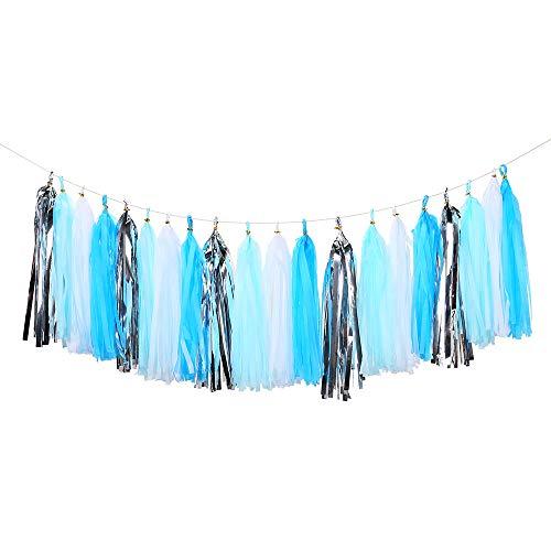 Bromose 20 PCS DIY Tissue Paper Tassel Party Garland,Fringe Garland Nursery Banner for Wedding, Baby Shower, First Birthday, Event & Party Decor