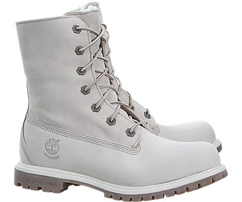Timberland Women's Authentics Waterproof Fold-Down Teddy Fleece Boots White, 8