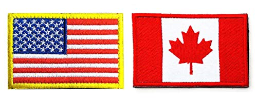 US Flag Canadian Flag Patch, Antrix 2 Pack American Flag Canada Flag Patch Military Tactical Morale Patches (Canada Flag Velcro)