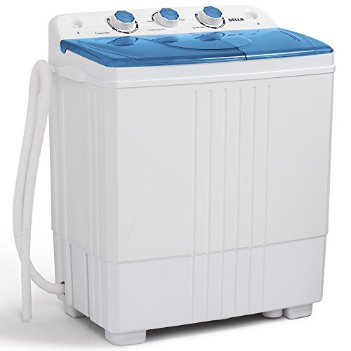 Price comparison product image DELLA Small Compact Portable Washing Machine Top Load Laundry Washer with Spin & Dryer,  11lbs Capacity White Blue