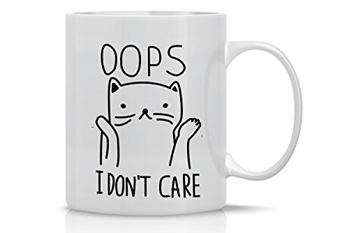 AW Fashions Grumpy Cat Mug - 11oz Coffee Mugs - Cute Pet Gifts for Animal Lovers - Cool Themed Cat Mom Gift - Perfect For Christmas and Birthdays - Oops I Don't Care