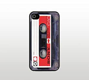 Cassette Tape Snap-On Case for Apple iPhone 4 4s - Hard Plastic - Black - Cool Custom Cover - Creative Design