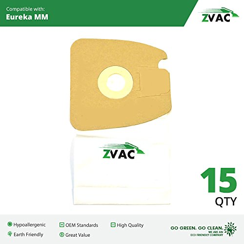 15 Eureka Style MM Micro-lined Mighty Mite & Sanitaire Allergen Filtration Vacuum Cleaner Bags; Similar to Eureka Part # 60297A , 60295, 60296, 60297, 60295B; By ZVac (Vacuum Bags Style Mm compare prices)