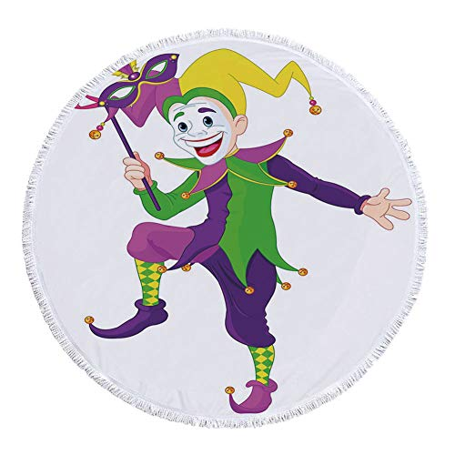 Thick Round Beach Towel Blanket,Mardi Gras,Cartoon Style Jester in Iconic Costume with Mask Happy Dancing Party Figure,Multicolor,Multi-Purpose Beach Throw ()