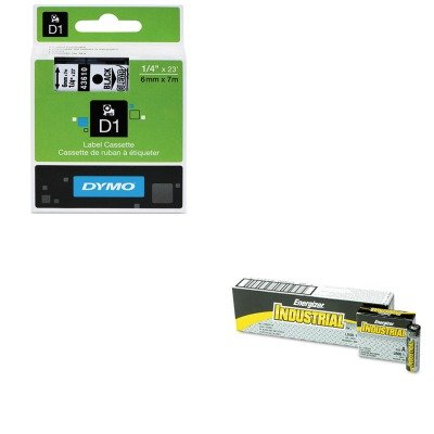 KITDYM43610EVEEN91 - Value Kit - Dymo D1 Standard Tape Cartridge for Dymo Label Makers (DYM43610) and Energizer Industrial Alkaline Batteries (EVEEN91)