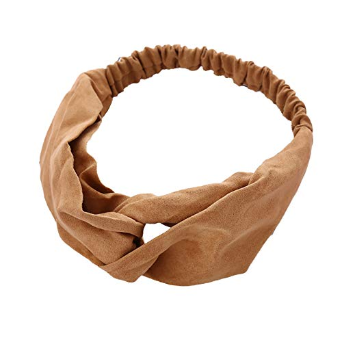 (Fashion Knotted Suede Hairband Elastic Women Head Wrap Hair Styling Accessories - Camel)
