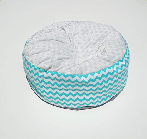 - Luxury Minky Pouf Blue Chevron, Small Round Cat or Dog Bed, Cat Pillow or Dog Pillow, Machine Washable