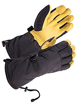 SKYDEER Waterproof and Windproof Geniune Deerskin Leather Ski Gloves with 150g 3M Thinsulate Insulation (Unisex SD8648T)