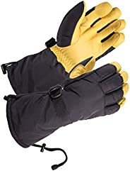 SKYDEER Waterproof and Windproof Genuine Deerskin Leather Ski Gloves with 150g 3M Thinsulate Insulation (Unise