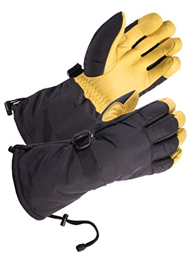SD8648T/XL - SKYDEER Waterproof Geniune Deerskin Leather Winter Skiing Gloves