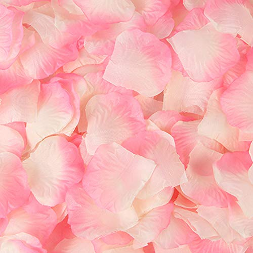 Sorive 3000 Pieces Dark Red Silk Rose Petals Artificial Flower Petals for Wedding Confetti Flower Girl Bridal Shower Hotel Home Party Valentine Day Flower Decoration (Pink Plus White)