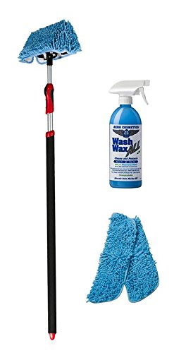 "Waterless RV Aircraft Boat Wash Wax ""Starter"" Mop Kit, No Ladder Needed, Waterless Wash, Wax, Dry, Anywhere, Anytime, No Restrictions with Patented Waterless Mop"