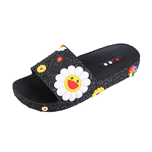 - OutTop(TM) Women's Shower Home Shoes Fashion Colorful Sunflower Pattern Beach Slippers Slip On Flat Slides (US:8, Black)