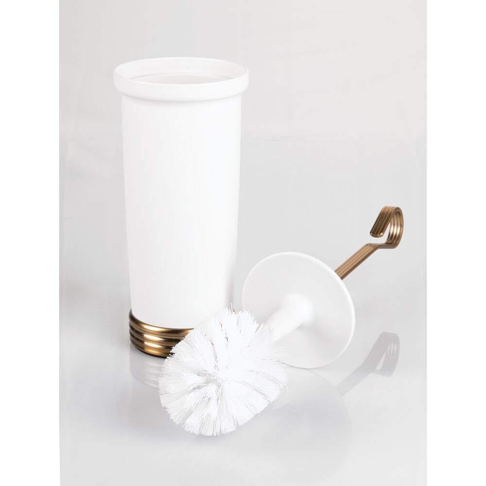 bianco//ottone mDesign Scopini bagno con portascopino Elegante scopettino WC in plastica robusta e metallo Soluzione resistente igienica e durevole