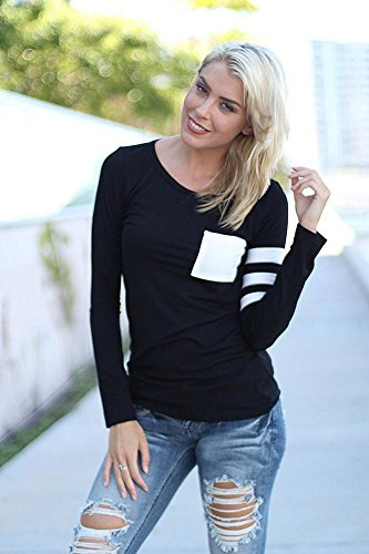 zolimx Blusas de manga larga mujer ronda cuello empalme camisa blusa T Shirt Negro