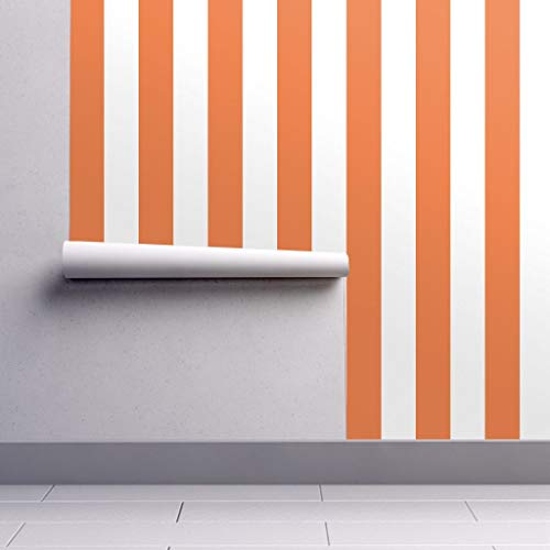 Peel-and-Stick Removable Wallpaper - Stripe Stripe Vertical Orange White Stripe Orange Orange and White by Andrea Lauren - 24in x 60in Woven Textured Peel-and-Stick Removable Wallpaper Roll]()