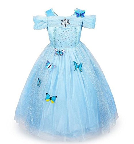 [MeQi Girls Princess Dress Party Costume with Butterfly] (Little Girl Pageant Costumes)