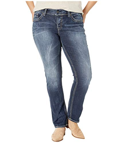 Silver Jeans Co. Women's Plus Size Suki Curvy Fit Mid Rise Straight Leg Jeans, Vintage Dark Wash with Lurex Stitch, 18x32