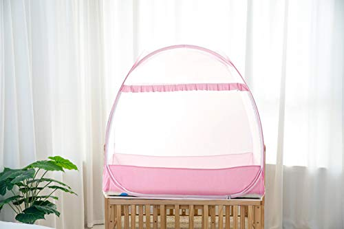 """Baby Crib Safety Tent, Pop up Mosquito Net Crib Canopy Cover to Keep Baby from Climbing Out and Keep Insects Out by AMORBASE (Pink, 47""""L x 26""""W x 39""""H)"""