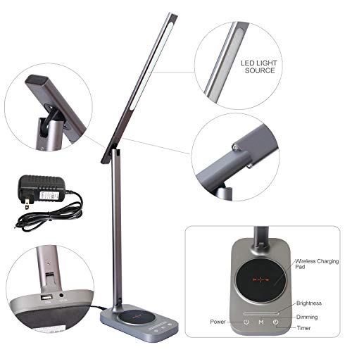 ROZKY Desk Lamp with Wireless Charging for iPhone/Samsung/LG etc,USB Charging Port LED Desk Lamp,Stepless Sliding Dimmable/Timer/Touch/Memory Function,Grey by rozky (Image #4)