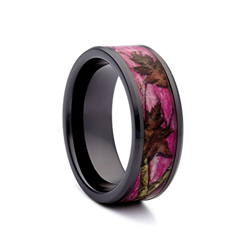 #1 Camo Black Ceramic Pink Camo Band - Pink Camouflage Wedding Ring for Women - Engagement Black Rings - Ring Size 6 (Real Tree Wedding Ring Set)