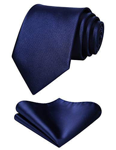 Mens Solid Navy Blue Tie Classic 3.4