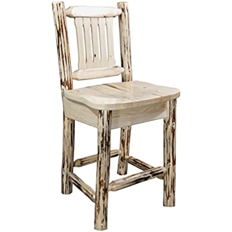 Montana Woodworks Montana Collection Counter Height Barstool With Back Clear Lacquer Finish