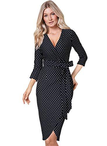 VFSHOW Womens Elegant V Neck Black and White Polka Dot Cocktail Party Sheath Wrap Dress 2398 BLK - Printed Belted Sheath Dress