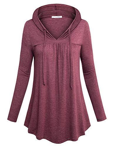 Messic Pullover Tunic Shirt, Swing Tunic Top Women Long Sleeve Fashion Blouse and Tops for Office Pleated Solid Color Spring Garment Slim Fit Durable Sophisticated Workout Tunics Wine M