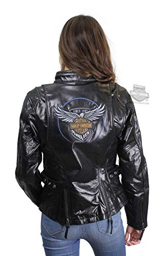 (Harley-Davidson Womens 115th Anniversary Reflective with Contrast Stitching Leather Jacket 98010-18VW (Large) Black)