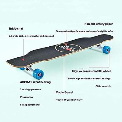 QINGMM Skateboards 44 Inch Skateboard Complete Longboard Double Kick Skate Board Cruiser 7 Layer Maple Deck for Outdoors: Home & Kitchen