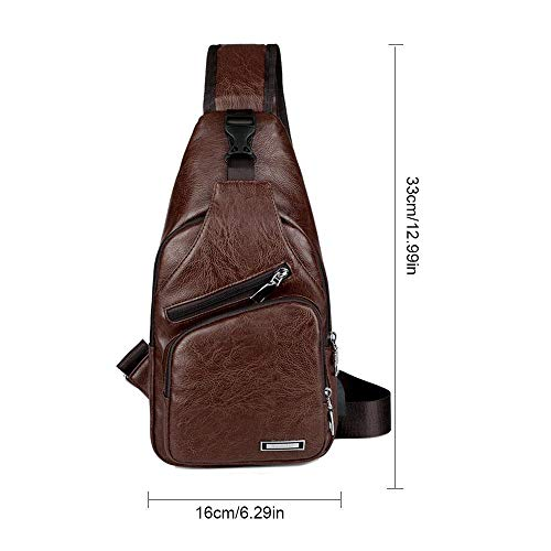 Travel Bag Chest Business Pacawa Dark Hiking Backpack For Leather Crossbody Port Brown School Bag Charging Sling Shoulder With Men's Pu Usb EZZwHatq