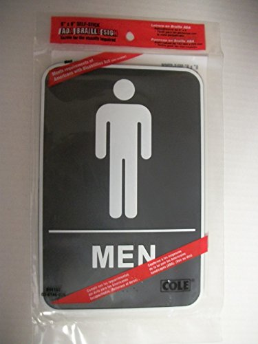 Men's Bathroom Sign - ADA (American Disability Act) Approved - 6 X 9 -Self Stick Adhesive Sign - Tactile for the Visually Impaired (Braille) - Black / White