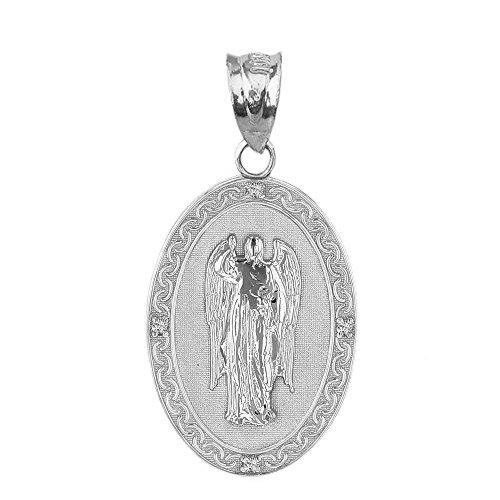 925 Sterling Silver Saint Gabriel The Archangel CZ Oval Medal Pendant (1.19