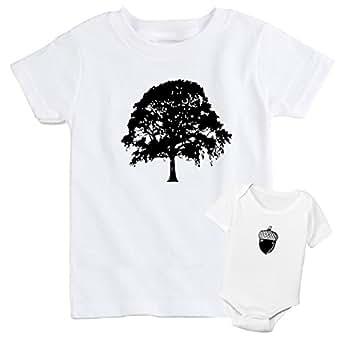 Oak Tree Matching Father & Baby T-shirt Set (Small, Baby 0-3M)