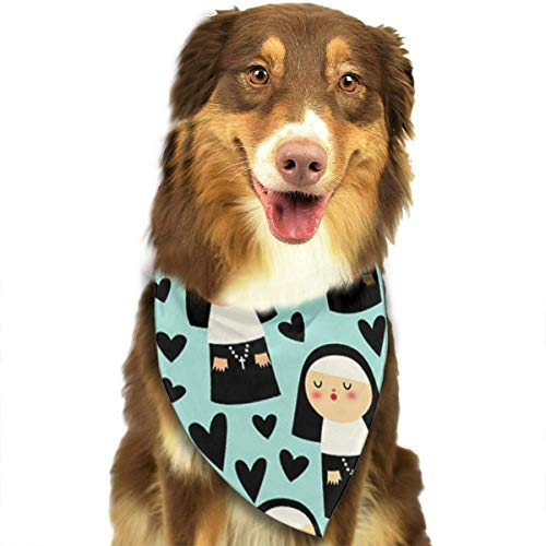Angel kuy Dog Bandana Nuns On Blue Triangle Bibs Scarf Printing Kerchief Set Accessories Dogs Cats Pets]()