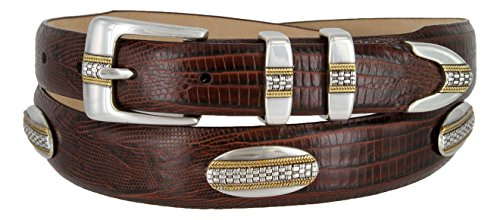 St. Andrews Gold - Italian Lizard Embossed Golf Belt with Conchos (Lizard Brown, 40)