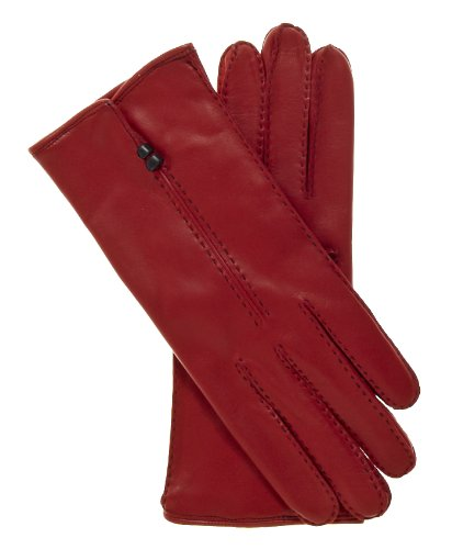 Fratelli Orsini Women's Handsewn Italian Cashmere Lined Leather Gloves Size 7 Color Red by Fratelli Orsini