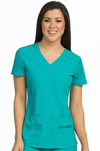 Med Couture Activate Women's V-Neck Racerback Scrub Top, Real Teal, Large