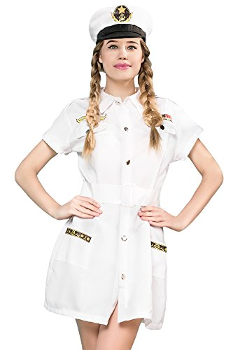Women's Sailor Cutie Captain Sea Skipper Dress Up & Role Play Halloween Costume (One Size - Fits All)