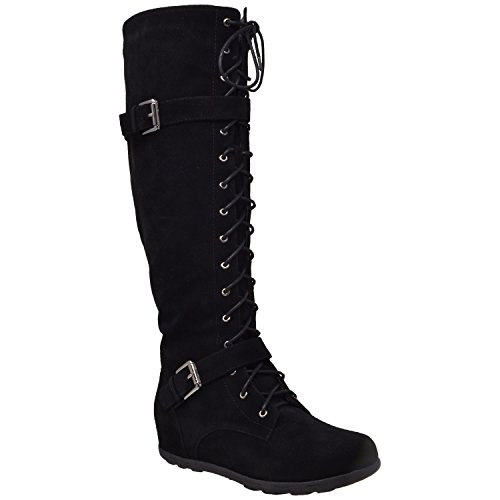Generation Y Womens Boots Knee High Block Heels Lace Up Combat Buckle Strap Zipper Closure GY-WB-213 - stylishcombatboots.com