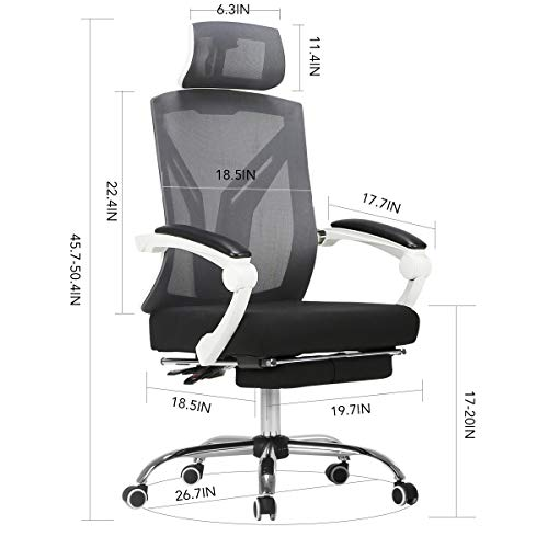 Hbada Ergonomic Office Chair - High-Back Desk Chair Racing Style with Lumbar Support - Height Adjustable Seat,Headrest- Breathable Mesh Back - Soft Foam Seat Cushion with Footrest, White by Hbada (Image #6)