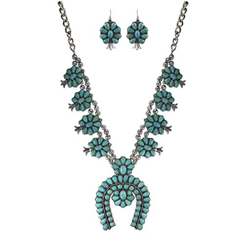 (Turquoise Vintage Squash Blossom Metal Statement Necklace/w Earrings)