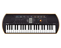 The 44 key Casio SA-76 offers children the essentials for playing those first tunes. 100 tones, 50 rhythms and 10 integrated songs provide variety. The LSI sound source and the 8-note polyphony ensure good sound quality. The LC display helps ...