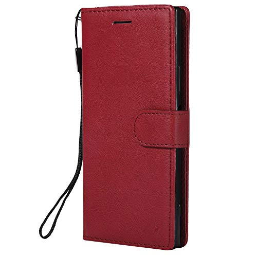 Sony Xperia XA1 Wallet Case, CUSKING Premium Leather Cover with Silicone Inner Case for Sony Xperia XA1 [Card Holder] [Magnetic Closure] [Hand Strap] - Red by CUSKING (Image #1)
