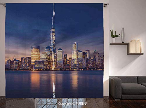 (Thermal Insulated Blackout Window Curtain [ Cityscape,New York City Manhattan After Sunset View Picture with Skyline Reflection on River,Navy Gold ] for Living Room Bedroom Dorm Room Classroom Kitchen)