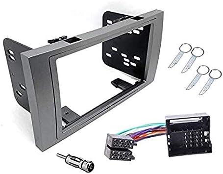 Sound-Way Kit Montage Autoradio, Marco 2 DIN Radio de Coche, Adaptador Antena, Cable Adaptador Conector ISO, Llaves Desmontaje Compatible con Ford ...