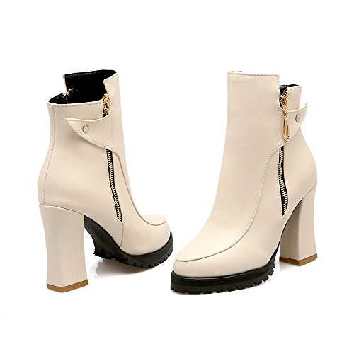 Zipper Heels Round Boots Beige Closed Solid Allhqfashion Material Toe Women's Soft High xXqzEOwBEH