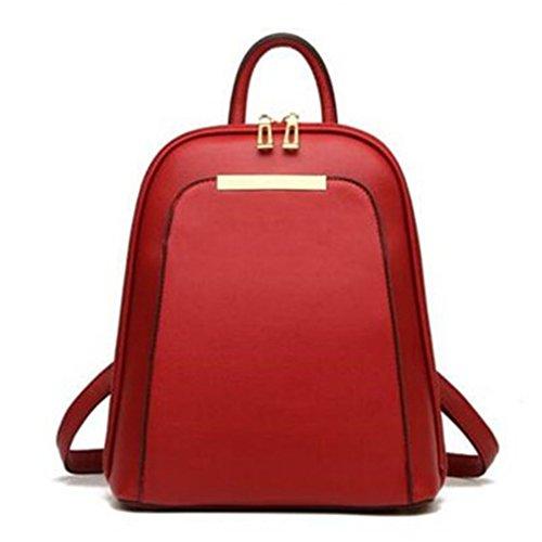 Mochila de cuero pu sólido mujer diseñador bolsas escolares para niñas adolescentes mujeres de lujo mochilas Rojo