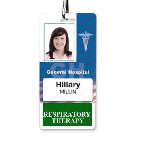 RESPIRATORY THERAPY Vertical Badge Buddy with GREEN Border by Specialist ID, Sold Individually